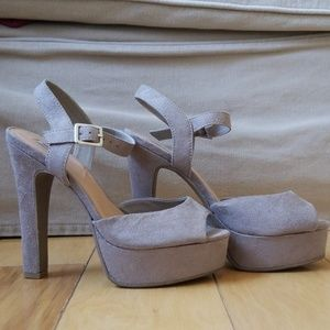 Grey/Taupe Suede Heels with ankle strap